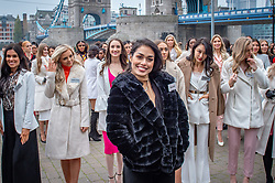 © Licensed to London News Pictures. 21/11/2019. London, UK. Miss England (Bhasha MUKHERJEE) pictured at Tower Bridge. National representatives from around the world arrive in London for the 69th Miss World festival and final Photo credit: Peter Manning/LNP