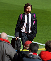 LIVERPOOL, ENGLAND - Sunday, April 10, 2016: Liverpool's Joe Allen arrives before the Premier League match against Stoke City at Anfield. (Pic by David Rawcliffe/Propaganda)