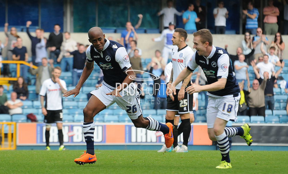 Celebrations begin as Jimmy Abdou gives Millwall the lead during the Sky Bet League 1 match between Millwall and Rochdale at The Den, London, England on 26 September 2015. Photo by Michael Hulf.