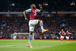 Christian Benteke of Aston Villa celebrates scoring a goal to make it 1-1 - Photo mandatory by-line: Rogan Thomson/JMP - 07966 386802 - 07/04/2015 - SPORT - FOOTBALL - Birmingham, England - Villa Park - Aston Villa v Queens Park Rangers - Barclays Premier League.
