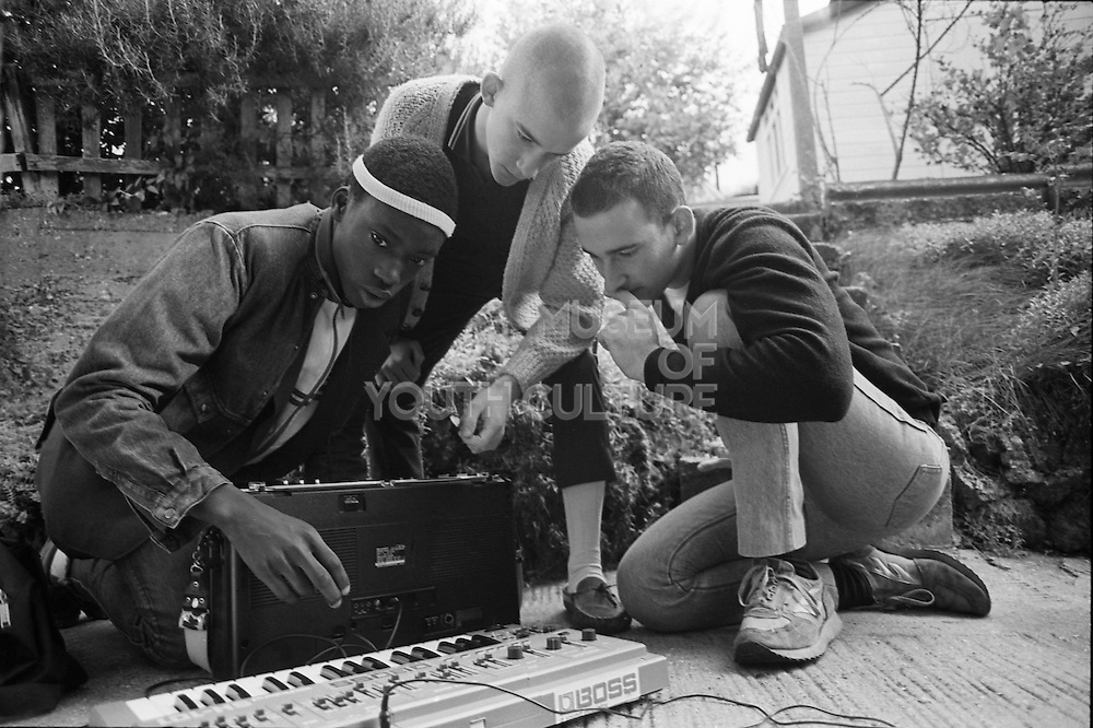 Barrymore, Neville and Gavin with Keyboard, Hawthorne Road, High Wycombe, UK, 1980s.