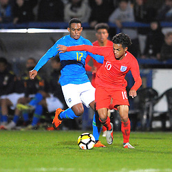 TELFORD COPYRIGHT MIKE SHERIDAN 16/10/2018 - Fabio Carvalho (Fulham) during the international friendly fixture between England u17 and Brazil u17 at the Bucks Head Stadium, Telford.