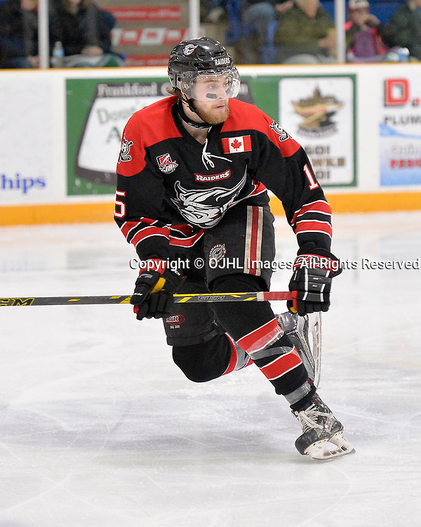 TRENTON, ON  - APR 15,  2017: Ontario Junior Hockey League, Championship Series.  Georgetown Raiders vs the Trenton Golden Hawks in Game 2 of the Buckland Cup Final.  Scott Docherty #15 of the Georgetown Raiders follows the play during the third period.<br /> (Photo by Shawn Muir / OJHL Images)