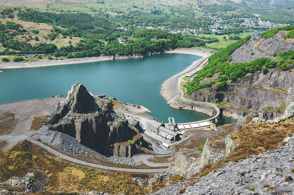 Ruins of the ancient Dinorwic Quarry at Snowdonia National Park in North Wales
