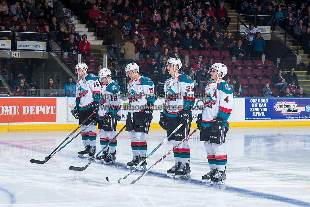 KELOWNA, CANADA - MARCH 25: The Kelowna Rockets line up against the Kamloops Blazers on March 25, 2017 at Prospera Place in Kelowna, British Columbia, Canada.  (Photo by Marissa Baecker/Shoot the Breeze)  *** Local Caption ***