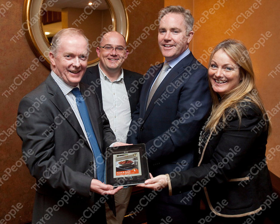 14/11/2012<br /> Michael Byrne, Acton BV, Brian O'Neill, President of Ennis Chamber, Domhnall Slattery, CEO Avolon and Cllr Mary Howard, Acting Mayor on Ennis pictured at the launch of the Ennis App which took place at 'Your Business Expo', A Business-to-Business Growth Initiative at the West County Hotel, Ennis.<br /> Picture: Don Moloney / Press 22