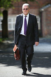 © Licensed to London News Pictures. 09/08/2017. Warrington, UK. former Sheffield Wednesday secretary and safety officer Graham Mackrell arrives at Warrington Magistrates Court. Former West Yorkshire Police Chief Sir Norman Bettison, former police officers Donald Denton and Alan Foster, South Yorkshire Police solicitor Peter Metcalf, and former Sheffield Wednesday secretary and safety officer Graham Mackrell are appearing at Warrington Magistrates Court today to face charges relating to the Hillsborough tragedy where 96 people died in 1989. Photo credit: Andrew McCaren/LNP