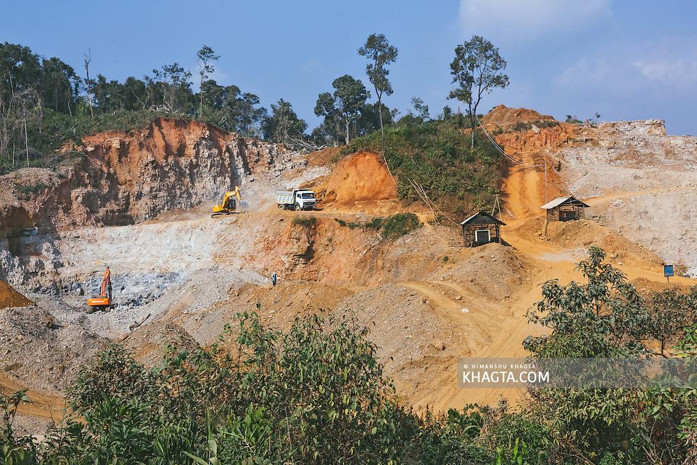 A limestone mine in Nongtalang, West Jaintia Hills, Meghalaya