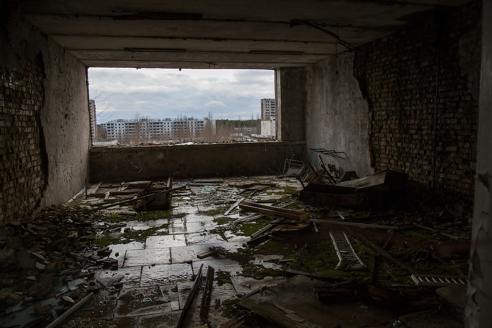 A ruined room on the top floor of the the Polissya Hotel on the main square looks out over the abandoned town of Pripyat, built to house the men and women working at the Chernobyl Nuclear Power Plant. The city was abandoned after the disaster on April 26, 1986. CREDIT: John Wendle The nuclear catastrophe in Ukraine in 1986 forced out thousands of residents from the region. Slowly, the abandoned countryside, city of Pripyat and villages have been repopulated with wild animals, including endangered species.