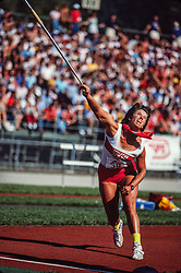 Karin Smith, javelin, Prefontaine Classic track and field meet, Hayward Field, University of Oregon, Eugene, Oregon, USA