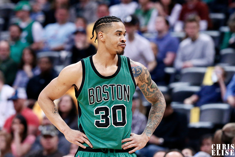 10 March 2017: Boston Celtics forward Gerald Green (30) rests during the Denver Nuggets 119-99 victory over the Boston Celtics, at the Pepsi Center, Denver, Colorado, USA.
