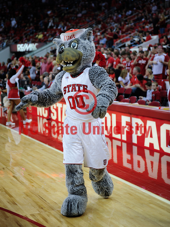 Mr. Wuf fires up the crowd at the PNC Arena. Photo by Marc Hall
