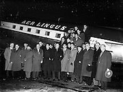 Irish Rugby Football Union, Ireland v France, Five Nations, French team arriving at Dublin Airport, Dublin, Ireland, Thursday 24th January, 1957,.24.1.1957, 1.24.1957, ..French Team, ..M Vannier, Wearing number 15 French jersey, Full Back, Racing Club de France Rugby Football Club, Paris France,..J Dupuy, Wearing number 14 French jersey, Left Wing, Tarbes Rugby Football Club, France,..M Prat, Wearing number 13 French jersey, Left centre, F.C Lourdais Rugby Football Club, France, ..A Boniface, Wearing number 12 French jersey, Right Centre, Stade Montois Rugby Football Club, France,..C Darrouy, Wearing number 11 French jersey, Right Wing, Stade Montois Rugby Football Club, France,..A Haget, Wearing number 10 French jersey, Outside Half, Paris University Rugby Football Club, France,..G Dufau, Wearing number 9 French jersey, Scrum Half, Racing Club de France Rugby Football Club, Paris France,..A Domenech, Wearing number 2 French jersey, Forward, C A Brive Rugby Football Club, France,..P Labadie, Wearing number 1 French jersey, Forward, Aviron Bayonnais Rugby Football Club, France, ..A Sanac, Wearing number 3 French jersey, Forward, U S A P Rugby Football Club, France, ..M Hoche, Wearing number 4 French jersey, Forward, Paris University Rugby Football Club, Paris, France,..M Celaya, Wearing number 5 French jersey, Captain of the French team, Forward, Biarritz Olympique Rugby Football Club, France, ..R Baulon, Wearing number 6 French jersey, Forward, Aviron Bayonnais Rugby Football Club, France,  ..J Barthe, Wearing number 7 French jersey, Forward, F.C Lourdais Rugby Football Club, France, ..F Moncla, Wearing number 8 French jersey, Forward, Racing Club de France Rugby Football Club, Paris France,.