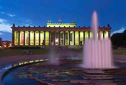 Night view of Altes Museum on Museumsinsel or Museum Island in Berlin Germany