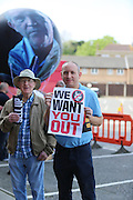 Charlton fans protesting with a large balloon being inflated during the Sky Bet Championship match between Charlton Athletic and Burnley at The Valley, London, England on 7 May 2016. Photo by Matthew Redman.