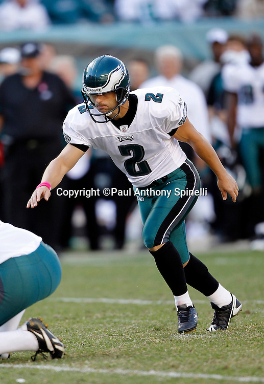 Philadelphia Eagles David Akers (2) attempts a field goal during the NFL week 6 football game against the Atlanta Falcons on Sunday, October 17, 2010 in Philadelphia, Pennsylvania. The Eagles won the game 31-17. (©Paul Anthony Spinelli)