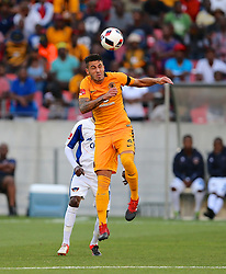 Daniel Antonio Cardoso of Kaizer Chiefs takes the header during the 2016 Premier Soccer League match between Chippa United and Kaizer Chiefs held at the Nelson Mandela Bay Stadium in Port Elizabeth, South Africa on the 3rd December 2016.<br /> <br /> Photo by:   Richard Huggard / Real Time Images