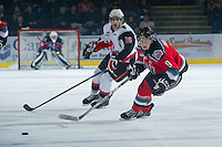 KELOWNA, CANADA - NOVEMBER 30: Zach Franko #9 of the Kelowna Rockets skates on the ice against the  Moose Jaw Warriors at the Kelowna Rockets on November 30, 2012 at Prospera Place in Kelowna, British Columbia, Canada (Photo by Marissa Baecker/Getty Images) *** Local Caption ***