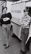Men standing by Television Van, Norwich, UK, 1984