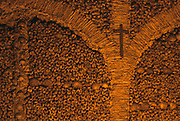 PORTUGAL, ALENTEJO AREA Evora, San Francisco church, Capela dos Ossos (Chapel of Bones) walls covered with bones of 5000 monks