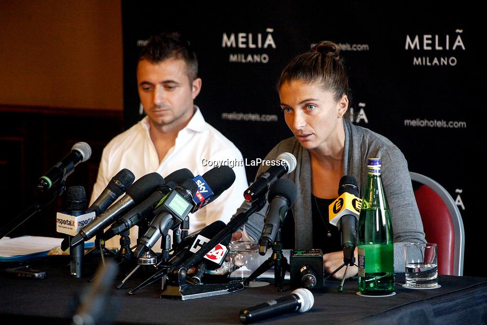 Photos LaPresse - Mourad Balti Touati<br /> 09/08/2017 Milan (Ita) - Via Masaccio.<br /> Press conference of tennis player Sara Errani to defend after a two-month suspension for doping<br /> In the picture: Sara Errani