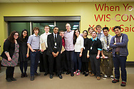The Wisconsin Union is home of the Wisconsin Union Directorate student programming.   A speaker greets many of the DLS students at a  program in 2013.  Picture includes Bill Mulligan (left, striped shirt) and Tom Yoshikami, WUD DLS advisor (far right).