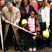 Mayor Richard M. Daley celebrates a groundbreaking for New Moms, Inc. facility in the Austin community Monday April 25, 2011.  Photography by Jose More