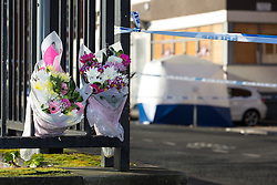 © Licensed to London News Pictures . FILE PICTURE DATED 4th JANUARY 2015 OF FLOWERS AT THE MURDER SCENE as two men have today (4th December 2015) been sentenced to seven and three years respectively following the death of Clarence Edwards , outside the R Base nightclub in Manchester , on 4th January 2015 . Earl Atta Rooms (b 16/03/88) of Roberts Avenue Rusholme was handed a seven year sentence for manslaughter with three years to run concurrently for violent disorder , and Dwayne Henry (b 25/01/81) of Carlton Avenue , Rusholme , was senteced to three years for violent disorder . Photo credit : Joel Goodman/LNP