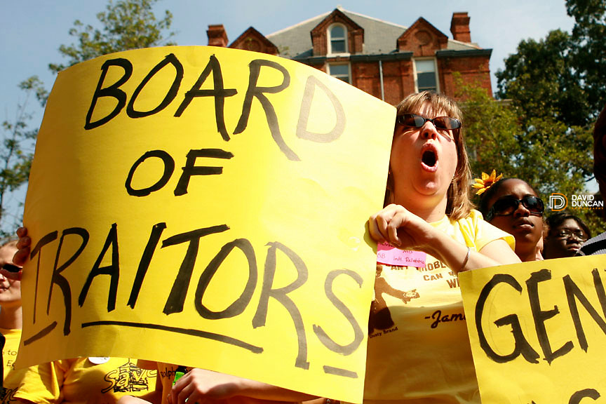 Randi Nordeen an alumnae from 1988 yells out loud after the Jolley Christman, President of the Board of Trustees at Randolph-Macon Woman's College announced Saturday August 9, 2006 at 11:18am that the all woman's college would admit men in 2007..Photo by David Duncan.