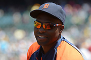 May 29, 2014; Oakland, CA, USA; Detroit Tigers right fielder Torii Hunter (48) looks on during the third inning against the Oakland Athletics at O.co Coliseum. The Tigers defeated the Athletics 5-4.
