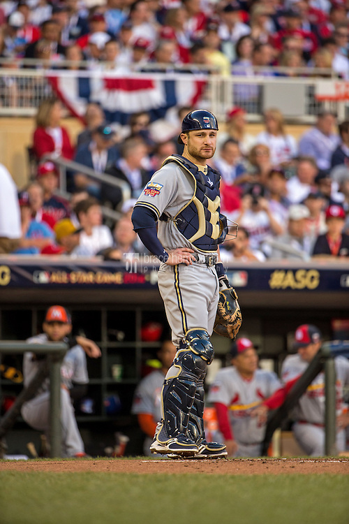 MINNEAPOLIS, MN- JULY 15: National League All-Star Jonathan Lucroy #20 of the Milwaukee Brewers during the 85th MLB All-Star Game at Target Field on July 15, 2014 in Minneapolis, Minnesota. (Photo by Brace Hemmelgarn) *** Local Caption *** Jonathan Lucroy