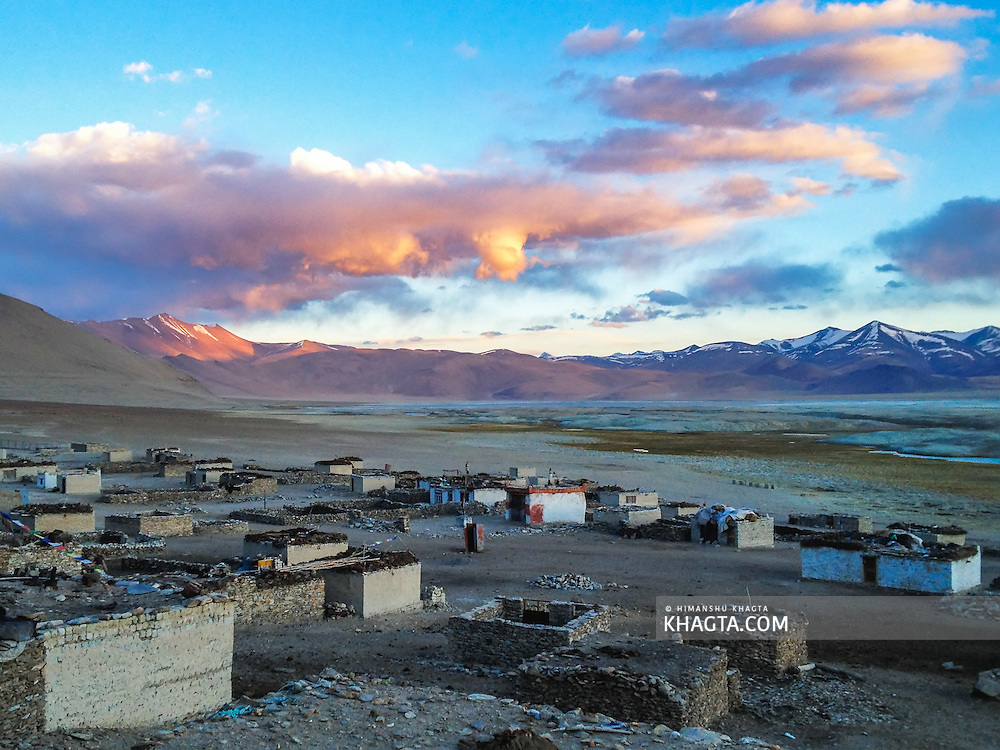 Landscape of the empty village of Thukje, near Tso Kar Lake in Ladakh. The residents of this village take their cattle out in the Morae plains for grazing in the summer months and come back to this village in the winters.