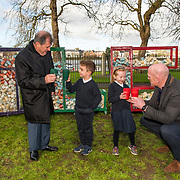 JP McManus and Paul O'Connell along with Eli O'Sullvian, 1st class, and Carla O'Brien, senior infants, from Bulgaden NS, at the Hunt Museum Limerick, to launch the new TLC eco-friendly cups ahead of Team Limerick Clean-Up 5, which will see thousands of volunteers take to the streets of Limerick city and county for Europe's largest one-day clean up. Sponsored by the JP McManus Benevolent Fund, the event has seen over 360 tonnes of litter gathered from the streets since inception in 2015. Over 14,000 volunteers have already signed up for the 2019 event, taking place on Good Friday, 19th April. <br /> Photo by Diarmuid Greene