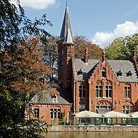 Europe, Belgium, Brugges. Brick church on Minnewater.