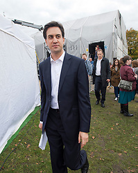 © London News Pictures. 20/10/2012. London, UK. Labour Leader Ed Miliband leaving the stage after delivering a speech at a TUC (Trades Union Congress) rally in Hyde Park, London on October 20, 2012. Photo credit : Ben Cawthra /LNP