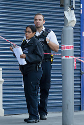 © Licensed to London News Pictures. 01/08/2018. London, UK.  The scene near St James Street station in Walthamstow, where Police were called at approximately 10pm on Tuesday evening to reports of a male suffering gunshot injuries in St James's Street. The victim, a male, believed to be aged 18 was taken by London Ambulance Service to an east London hospital. Photo credit: Vickie Flores/LNP