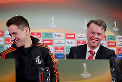 MANCHESTER, ENGLAND - Wednesday, March 16, 2016: Manchester United's manager Louis van Gaal and Ander Herrera during a press conference at Old Trafford ahead of the UEFA Europa League Round of 16 2nd Leg match against Liverpool. (Pic by David Rawcliffe/Propaganda)
