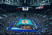 Poland, Krakow - 2017 September 03: General view of the stadium while Third Place match between Belgium and Serbia during LOTTO EUROVOLLEY POLAND 2017 - European Championships in volleyball  at Tauron Arena on September 03, 2017 in Krakow, Poland.<br /> <br /> Mandatory credit:<br /> Photo by &copy; Adam Nurkiewicz<br /> <br /> Adam Nurkiewicz declares that he has no rights to the image of people at the photographs of his authorship.<br /> <br /> Picture also available in RAW (NEF) or TIFF format on special request.<br /> <br /> Any editorial, commercial or promotional use requires written permission from the author of image.