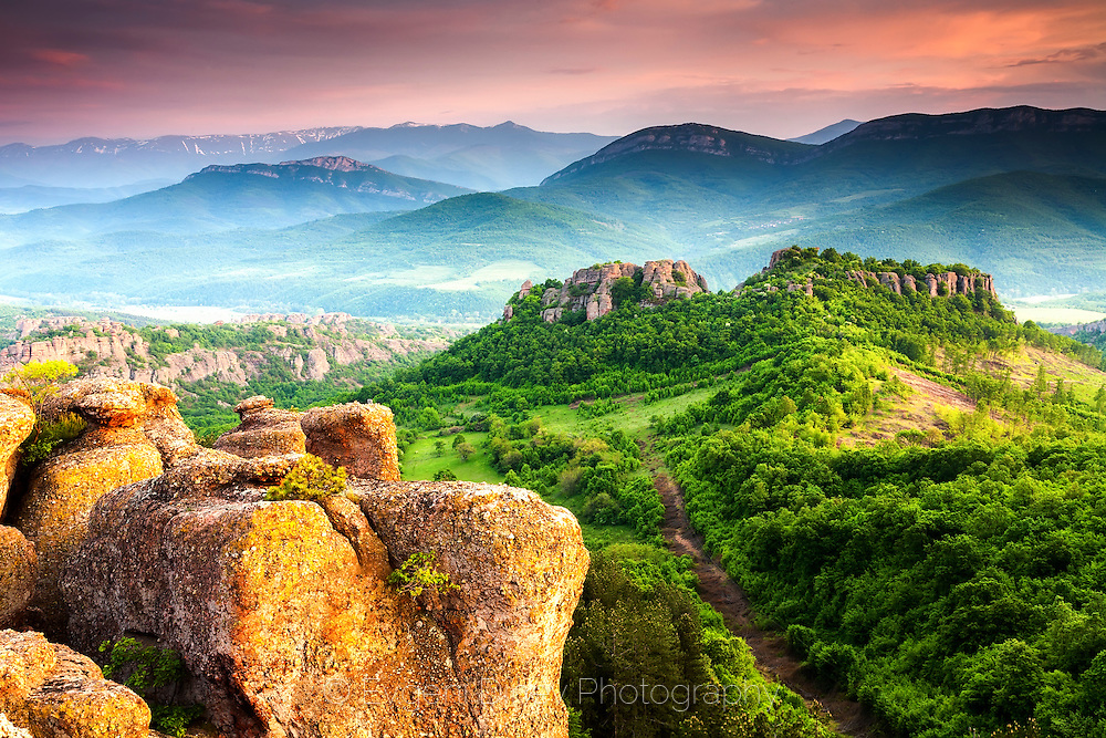 Rocks of Belogradchik at sunset