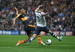 Isaac Hayden of Newcastle United (L) has a shot at goal - Mandatory by-line: Jack Phillips/JMP - 29/10/2016 - FOOTBALL - Deepdale - Preston, England - Preston North End v Newcastle United - EFL Championship