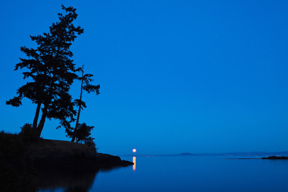 The full moon setting in early morning over Haro Strait and Vancouver Island, British Columbia as seen from County Park on San Juan Island, Washington, USA.