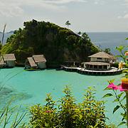 Panoramic view around the lagoon of Misool eco resort.
