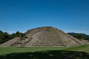 Mesoamerica pyramid called building 19 in the Arroyo Group at the pre-Columbian archeological site of El Tajin in Tajin, Veracruz, Mexico. El Tajín flourished from 600 to 1200 CE and during this time numerous temples, palaces, ballcourts, and pyramids were built by the Totonac people and is one of the largest and most important cities of the Classic era of Mesoamerica.