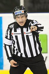 23.10.2012. Hala Tivoli, Ljubljana, SLO, EBEL, HDD Telemach Olimpija Ljubljana vs HC TWK Innsbruck Die Haie, 15. Runde, in picture Linesman Ales Lesnjak during the Erste Bank Icehockey League 15th Round match between HDD Telemach Olimpija Ljubljana and HC TWK Innsbruck Die Haie at the Hala Tivoli, Ljubljana, Slovenia on 2012/10/23. (Photo By Matic Klansek Velej / Sportida)