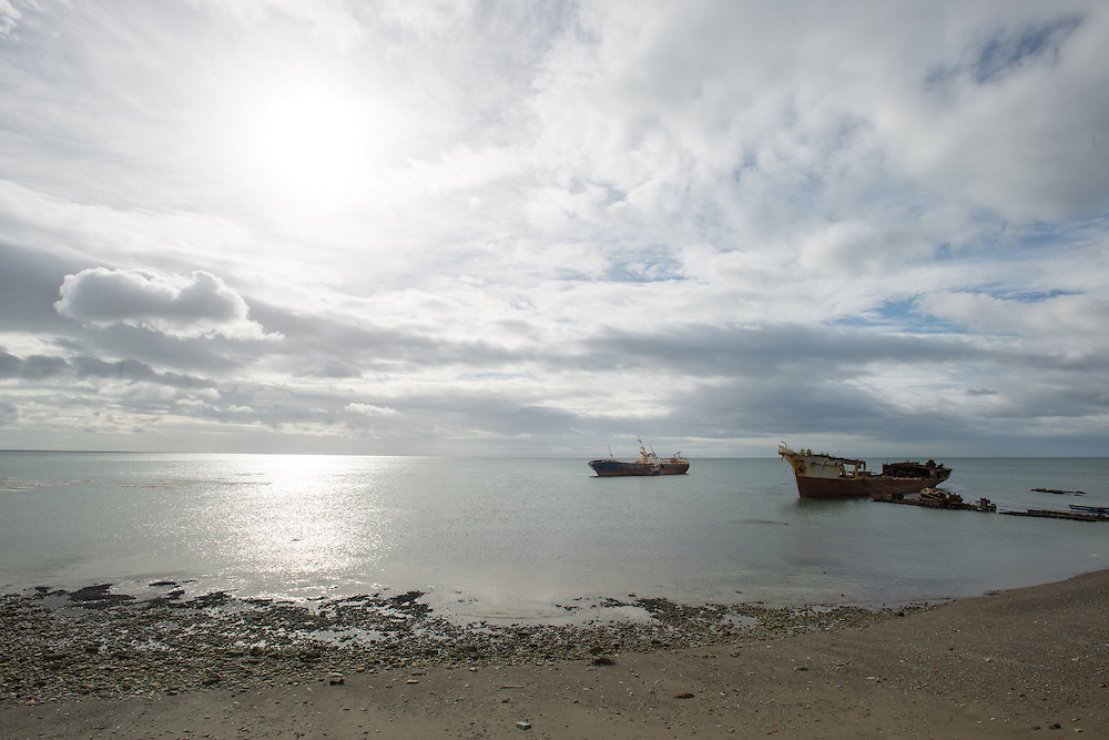 Grey Seashore with shipwrecks near Punta Arenas Chile