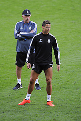 Real Madrid's Cristiano Ronaldo and Real Madrid Manager, Carlo Ancelotti - Photo mandatory by-line: Joe Meredith/JMP - Mobile: 07966 386802 11/08/2014 - SPORT - FOOTBALL - Cardiff - Cardiff City Stadium - Real Madrid v Sevilla - UEFA Super Cup - Press Conference and Open Training session