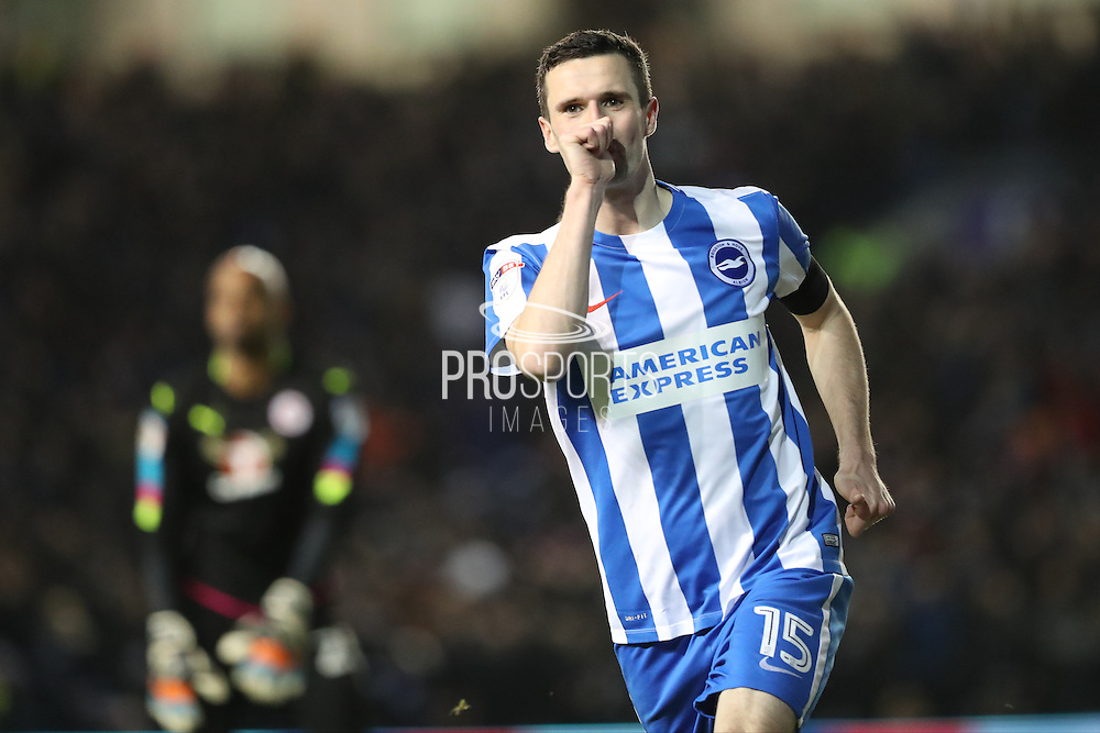 Brighton & Hove Albion winger Jamie Murphy (15) scores a goal 2-0 and celebrates during the EFL Sky Bet Championship match between Brighton and Hove Albion and Reading at the American Express Community Stadium, Brighton and Hove, England on 25 February 2017.