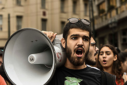 People shout slogans on a demonstrate against a draft labour legislation in central Athens on September 24, 2019 during a 24-hours nationwide strike. in Athens, Greece, on 24 September 2019 <br /> <br /> <br /> Dimitris Lampropoulos  | EEm date