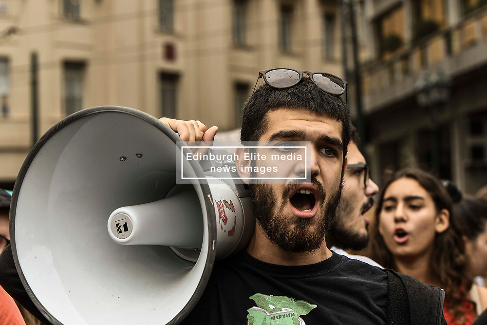 People shout slogans on a demonstrate against a draft labour legislation in central Athens on September 24, 2019 during a 24-hours nationwide strike. in Athens, Greece, on 24 September 2019 <br /> <br /> <br /> Dimitris Lampropoulos    EEm date