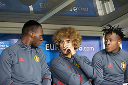 LILLE, FRANCE - Friday, July 1, 2016: Belgium substitutes Christian Benteke, Marouane Fellaini  and Michy Batshuay chat ahead of the UEFA Euro 2016 Championship Quarter-Final match against Wales at the Stade Pierre Mauroy. (Pic by Paul Greenwood/Propaganda)